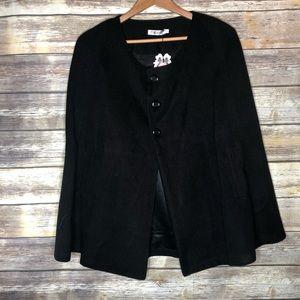 Black cape cloak jacket pockets 3 button NWT OS